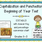 Capitalization and Punctuation Beginning of Year Assessmen