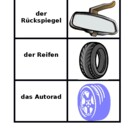 Car parts in German games:  Concentration, Slap, Old Maid,