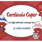 Cardinals Caper Two Digit Subtraction Scavenger Hunt ~ wit