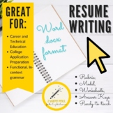 Career Resume Writing Handouts, Mini-Lessons, Rubrics
