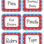Carousel Red & Blue Scalloped Polka Dot Labels