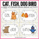 Cat, Fish, Dog, Bird Game Cards- Freebie