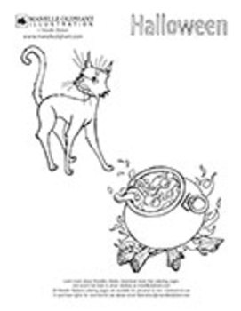 Cat and Cauldron Coloring Page