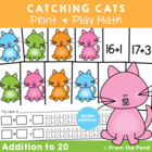 Catching Cats - Printable Math Card Game for Teaching Addition