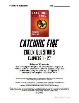 Catching Fire Check Quizzes Chapters 1-27 w/Key