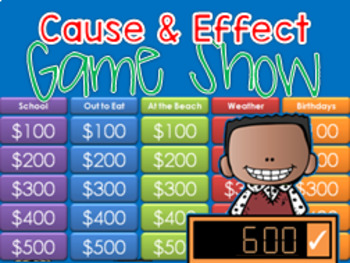 Cause and Effect GAME SHOW - 2nd-4th Grade w Contestants interactive ppt