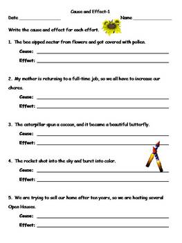 Cause and Effect Practice Worksheets