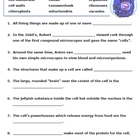 Cells Worksheets -- puzzles and more