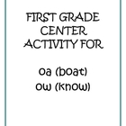 "Center Matching Game: ""oa"" in boat and ""ow"" in know"