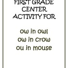 "Center Matching Game: ""ow"" in owl, ""ow"" in crow, ""ou"" in mouse"