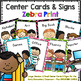 Center Signs and Cards  Programmable 2 in 1 set (Zebra Print)