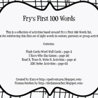 Center and Group Activities for Fry&#039;s First 100 Sight Words