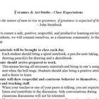 Ceramics &amp; Art Studio - Class Expectations