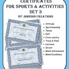 Certificates For Sports & Activities Set 3
