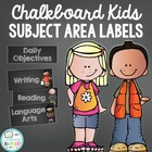 Chalkboard Daily Objective Subject Area Labels - Freebie
