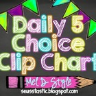 Chalkboard & Neon Daily 5 Choice Chart (Freebie)