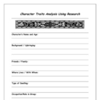 Character Analysis & Character Research Graphic Organizer
