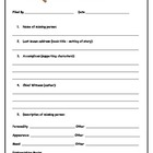 Character Analysis - Missing Person and Simile Worksheets