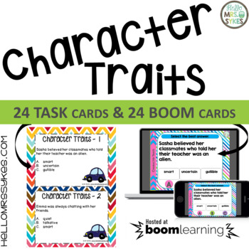 Character Traits Task Cards, Scoot Game, Assessment, Multi