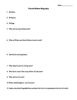 Charles Dickens Biography Questions