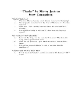 Charles by Shirley Jackson Story Comparison:  Preparing fo