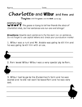 Charlotte's Web Worksheet: Run-On Sentences