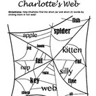 Charlotte's Web Worksheet: Short /a/ and Short /i/
