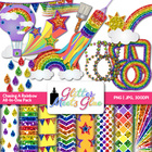 Chasing Rainbows Clipart, Frames, Badges & Paper - Rainbow
