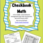 Checkbook Math -- Middle School Behavior Plan with Persona