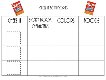 Cheez Its Scattergories