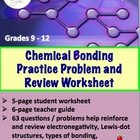 Chemical Bonding Practice Problem and Review Worksheet