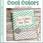 Cool Colors Editable Teacher Planner
