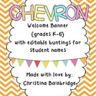 """Chevron Buntings """"Welcome"""" Banner with Editable Student Na"""