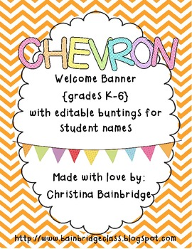 "Chevron Buntings ""Welcome"" Banner with Editable Student Na"