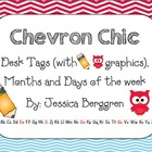 Chevron Chic- 5 Desk tags (pencil and owl graphics) Month
