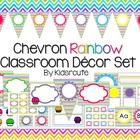 Chevron Classroom Decor Set and Labels~ Rainbow Bright~ ED