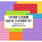 Chevron Classroom Digital Decor &amp; Stationery Set