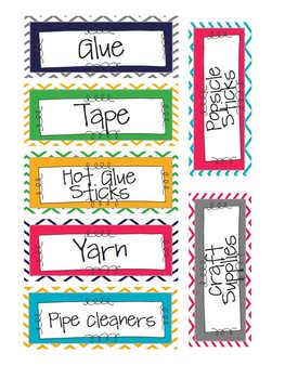Chevron Classroom Supply Labels- Small