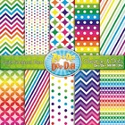 Chevron &amp; Dot Digital Scrapbook Pack  Rainbow (10 Pages)