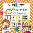 Chevron Numbers 0-30 Poster Set with Ten Frames (CCSS)