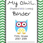 Chevron OWL Binder Fifth Grade