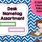 Chevron & Polka Dots Desk Name Tags / Name Plates Assortment