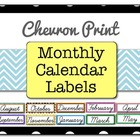 Chevron Print Monthly Calendar Labels
