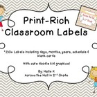 Chevron Print-Rich Classroom Labels with Doodle Kids