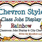 Chevron Style ~Primary Rainbow Classroom Jobs Display & Cl