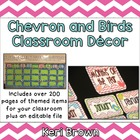 Chevron and Birds Themed Classroom Set with Alphabet and N