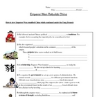 China - Emperor Wen Rebuilds China Worksheet