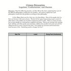 Chinese Philosophies Chart