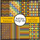 Chocolate Rainbow {12x12 Digital Papers for Commercial Use}