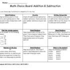 Choice Board Unit 2 Addition and Subtraction Common Core 2